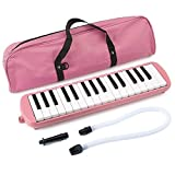 32 Key Melodica Instrument with Mouthpiece Air Piano Keyboard (Pink)
