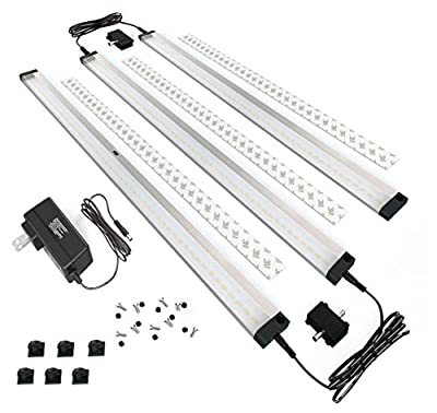 [New] EShine 3 Extra Long 20inch Panels LED Dimmable Under Cabinet Lighting Kit! Hand Wave Activated - Touchless Dimming Control - Easy to Install - Screws and 3M Sticker Options Included
