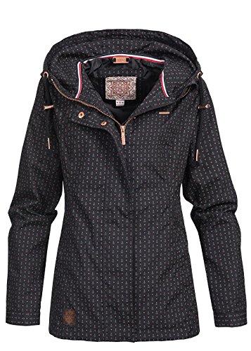 Aiki Damen Frühjahrs Jacke mit Kapuze Anker Muster 2 Taschen, schwarz rot, Gr:S