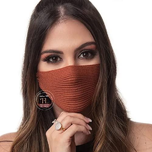 Máscara de Tricô Canelado - Camada Simples - Antiviral (Terra)