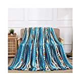 All American Collection Super Soft Ultra Comfort Plush Microfiber Solid Throw Blanket for Couch Home Bedroom Living Room (Queen, Beverly Blue Southwest)