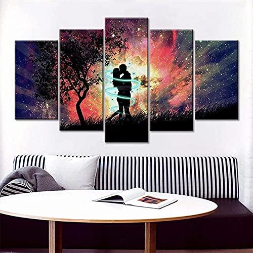 XHJY Muurschilderingen woonkamer moderne decoratieve kunstdrukken wanddecoratie canvas foto 5-delig afbeelding op doek liefdespaar kus in zonsondergang 200x100cm