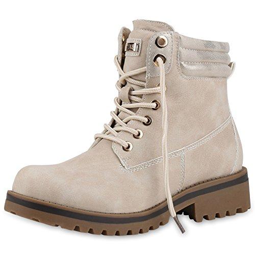 SCARPE VITA Damen Leicht Gef?tterte Stiefeletten Outdoor Worker Boots Schuhe 144742 Creme Leicht Gefüttert 42