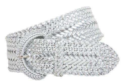 2 Inch Wide Hand Made Soft Metallic Woven Braided Round Belt, Silver | l/xl (36'-38' waist)