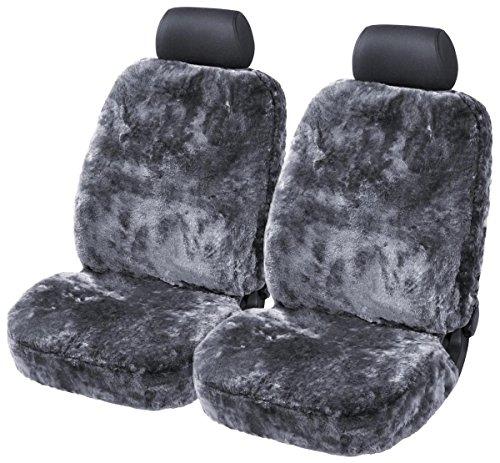 2Stk. Torrex® Lammfell-Sitzbezug - kein Patchwork - Vollbezug mit allgemeiner Betriebserlaubnis (ABE) Universalgröße (Farbe Anthrazit, 2 Bezüge)