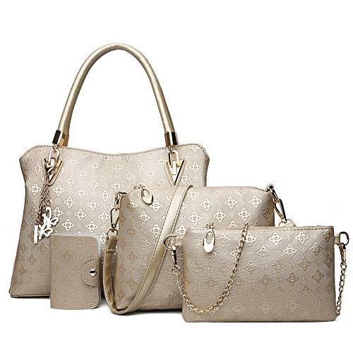 Pahajim Damenhandtasche Damen Geschenkset Damen Persönlichkeit Kosmetiktasche 4 Stück Set Damen Tasche Designer Mode Damen Handtasche Frühling Sommer Herbst und Winter Handtasche