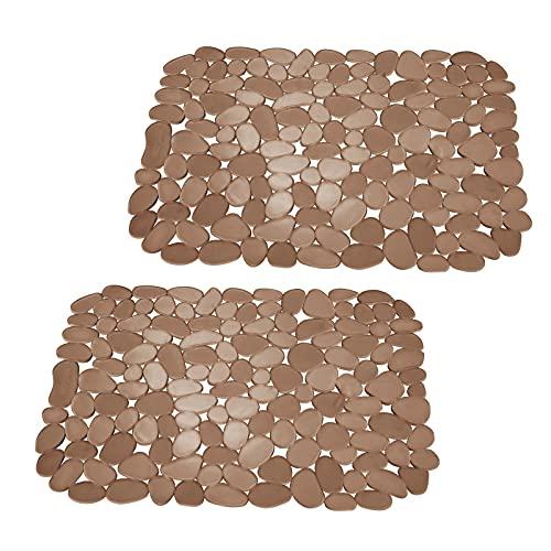 mDesign tapis évier en PVC (lot de 2) – utilisable comme tapis d'égouttoir – tapis ajustable pour protéger le fond d'évier des rayures – avec motif en galets – ambré