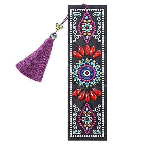 Bookmark Stickers, DIY Mandala Special Shaped Diamond Painting Leather Tassel Bookmark Gifts, for Valentine's Day, Graduation, Birthday