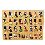 PPuujia 39 * 28 cm Puzzle Grande Juguetes de Madera Alfabeto Ruso Puzzles Juguetes para niños Alphabet Grask Board Kids Educational Education Toy (Color : Wood)