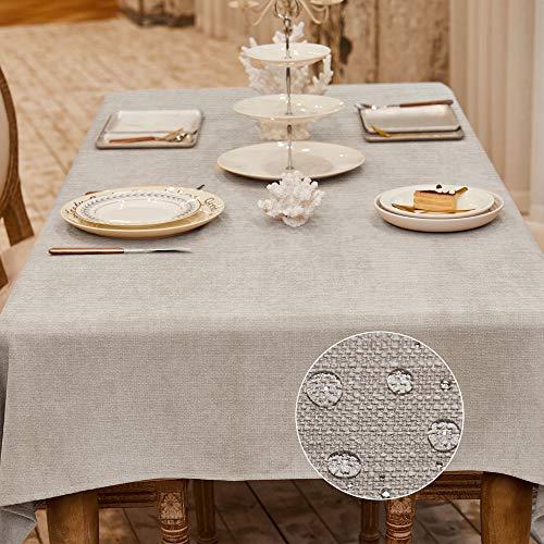 Balcony&Falcon Tischdecke Leinenoptik tischdecke abwaschbar Tischtuch Leinen Tischläufer Tischwäsche Eckig Wasserdicht Tischdecke Beige 140 x240