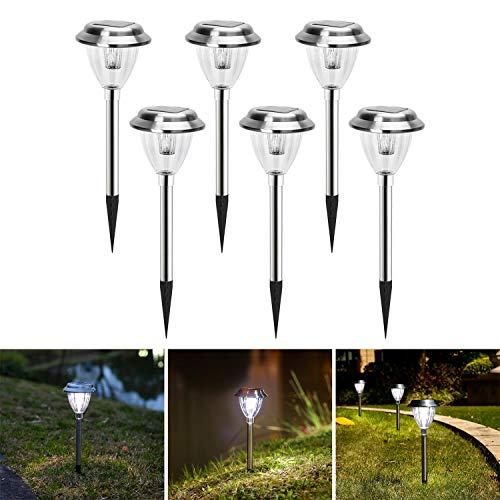 Aigostar - 6 x Lámpara LED para exterior, resistente al agua, encendido y apagado automático, IP44. Recomendado para jardines o terrenos blandos donde colocarlo.