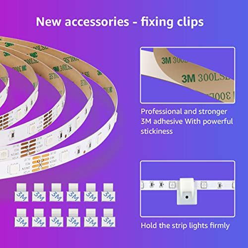 Lepro 50ft LED Strip Lights, Ultra-Long RGB 5050 LED Strips with Remote Controller and Fixing Clips, Color Changing Tape Light with 12V ETL Listed Adapter for Bedroom, Room, Kitchen, Bar(2 X 24.6FT) 5