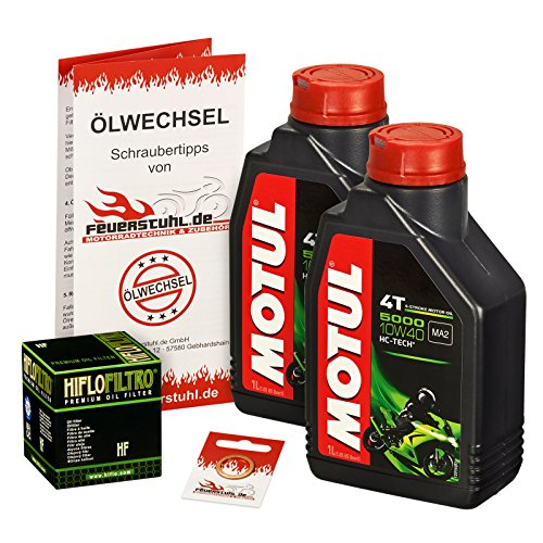 Motul 10W-40 Öl + HiFlo Ölfilter für Suzuki Burgman 125 /G (UH 125), 02-15, BP CC C8 - Ölwechselset inkl. Motoröl, Filter, Dichtring