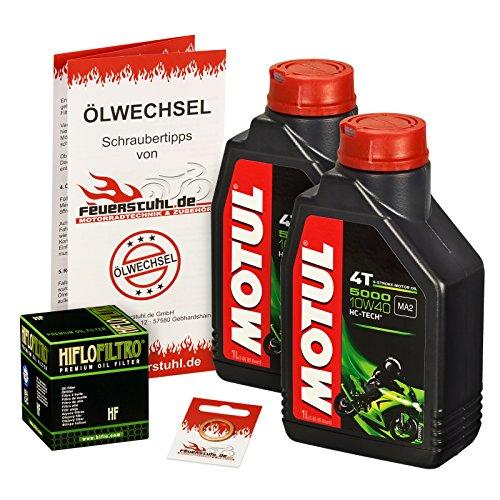 Motul 10W-40 Öl + HiFlo Ölfilter für Kawasaki ER6f / ER6n, 05-15, EX650A EX650C - Ölwechselset inkl. Motoröl, Filter, Dichtring
