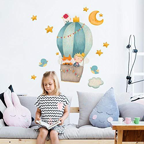R00525 Adesivi Murali Soffice Effetto Tessuto Piccolo principe Decorazione Muro Bambino Neonato Nursery Cameretta Asilo Nido Carta da Parati Adesiva