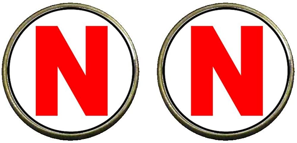 GiftJewelryShop Bronze Retro Style Red Letter N Photo Clip On Earrings 14mm Diameter