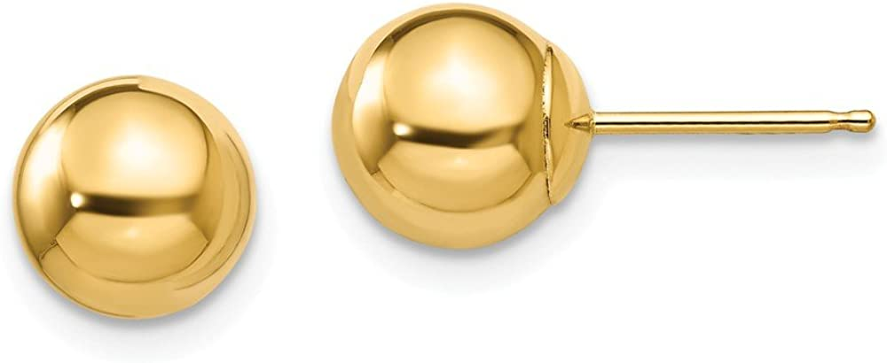 Black Bow Jewelry 7mm Polished Ball Friction Back Stud Earrings in 14k Yellow Gold