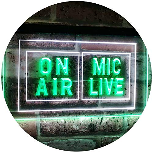 ADV PRO Mic Live on Air Studio Recording Display Dual Color LED Enseigne Lumineuse Neon Sign Blanc et Vert 600 x 400mm st6s64-i1072-wg