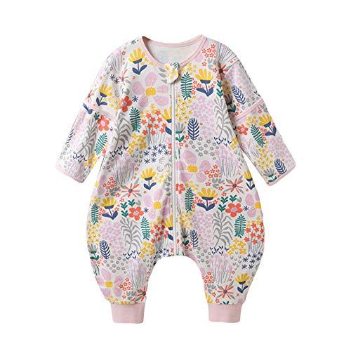 Bebé Saco de Dormir con Pies Pijama Algodón Desmontable de Manga Larga Primavera Verano Pijamas Mono Niños Niñas Unisex 2-3 años Flor