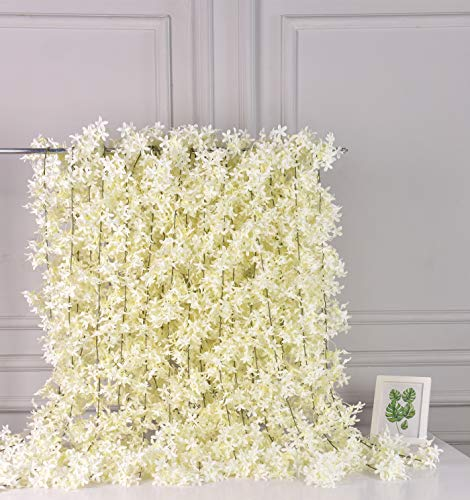AlphaAcc Artificial White Silk Cherry Blossom Flower Vine Hanging Garland Home Wedding Party Decor, Pack of 4