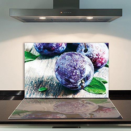 damu   para cubrir la vitrocerámica 1piezas 80x 52cm cubiertas de fruta de cristal violeta eléctrico Horno Cocina de inducción Placa de protección contra salpicaduras Cristal–Tabla de cortar