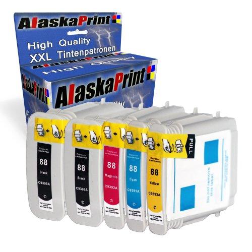 Premium 5er Set Kompatible Tintenpatronen Als Ersatz für HP 88XL für Officejet Pro L7400 L7480 L7550 L7580 L7590 L7650 K550 K550N K5400 L7590 K5300 K8600 K5400 K8600 L7580 L7680 L7000 L7680 L7588 L7780 Druckerpatronen (Schwarz , Cyan , Magenta , Gelb) 5x88-hp