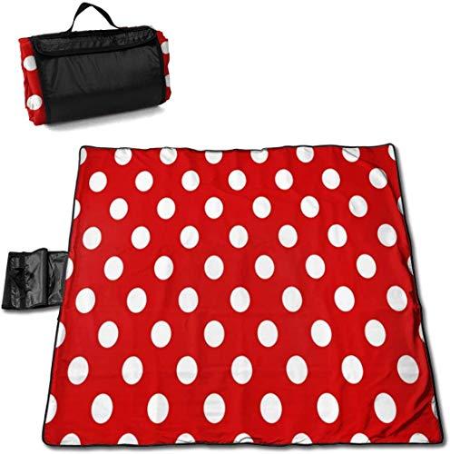 N/A Große wasserdichte Picknickdecke für den Außenbereich, Rot / Weiß, gepunktet, sanddicht, Strandmatte, Tragetasche für Camping, Wandern, Gras, Reisen