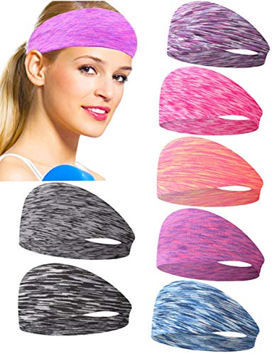 Prosflyous 7PCS Sports Headbands for Women Non Slip Workout Headband Moisture Wicking Sweatband for Yoga Running Athletic Fitness Hair Headbands