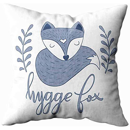 jonycm Throw Pillow Covers Style De Renard Somnolent Scandinave Isolé sur Fond Blanc pour Taie...