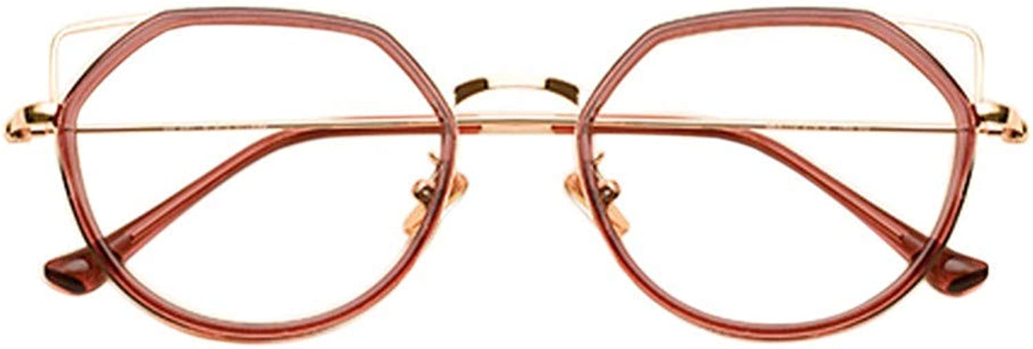 Nearsighted Short-sighted Glasses Cat Ear Irregular Glasses Metal Frame Women Nearsighted Eyeglasses Myopia Eyewear(These are not Reading Glasses) Red gold,-1.50