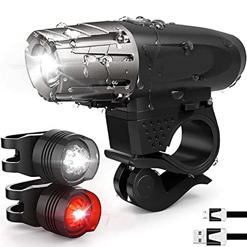 RXLLSY Luz Bicicleta Recargable USB, 4 Modos Luces Bicicleta Delantera Impermeable, Luz LED Bicicleta para Carretera y Montaña-Seguridad para la Noche