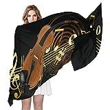 Bufanda para mujer con diseño de violín y música abstracta, estilo moderno