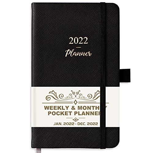 2022 Pocket Planner/Calendar - Pocket Calendar/Planner 2022 Weekly & Monthly, 6.3''×3.8'', Jan. 2022 - Dec. 2022, Pen Loop, Back Pocket, 2 Book Marks, Elastic Closure, Note Pages - Black