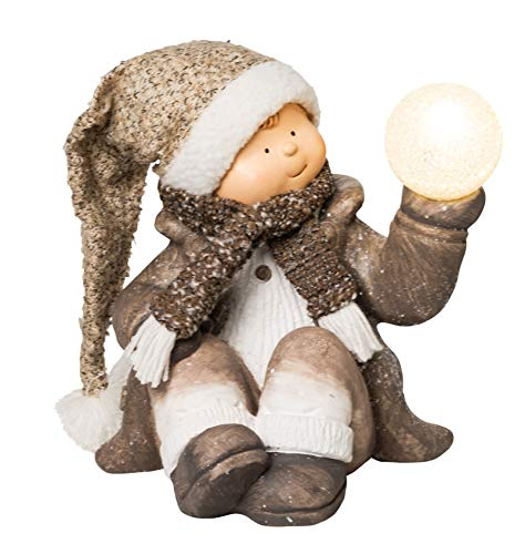 Wichtelstube-Kollektion XL Deko Figur mit LED beleuchtet Junge Weihnachtsfigur 32cm Keramikfigur Weihnachten Gartenfigur