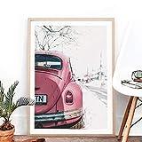 VVSUN Pink Bus Retro Car Poster Print Arte de la Pared Fotografía Vintage Car Canvas Painting Picture para la decoración de la Sala de Estar 50x70cm 20x28 Pulgadas Sin Marco