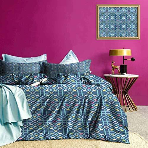 Juego de Funda nórdica Azulejos de Mosaico Tribales Ropa de Cama de Verano Fácil de Lavar y secar