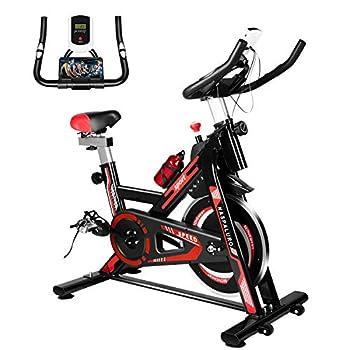 Naspaluro Exercise Bike Stationary Bikes for Exercise & fitness Home Gyms,Peloton Bike with Adjustable Seat&Handlebar/Phone Holder/Heart Moniter/LCD Monitor