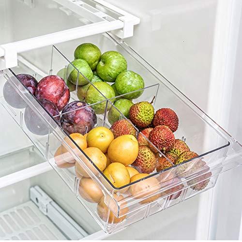 Fridge Drawer Organizer, LALASTAR Mini Refrigerator Drawers Storage Box, Pull Out Refrigerator Storage Drawers for Food, Drinks, Fit for Fridge Shelf Under 0.6