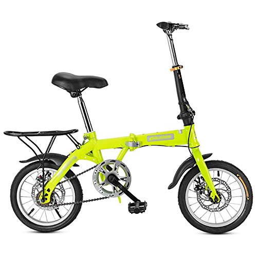 YSHUAI 16/20 in Folding Bike for Students Mini Folding Bike Adults Folding Bicycle Light Singlespeed Compact Foldable Bicycle Double Disc Brake Small Bicycle with Basket,Green,16inch