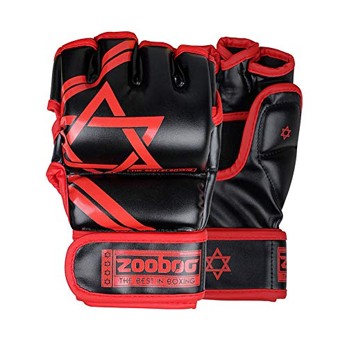 ZooBoo Half Finger Boxing Gloves with Longer Velcro Wrap and a Carring Bag,for MMA,UFC,Punching Bag,and Boxing Training-Red