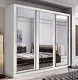 Armario moderno, 250 cm, blanco mate, armario deslizante con espejo Puertas correderas,White