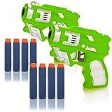 com-four® 2X Pistola per Freccette, Lancia-Giocattoli semiautomatico con morbide Freccette in...