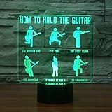 Lampe de table, 3d Night Ligh, guitariste pour enfants, modelage Comment tenir la...