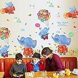 Chenbz Pegatina 3D Dibujos Animados 3D Bebé Elefante Sala de Kindergarten Creative Acuarela Pegatinas de Graffiti 87 * 80cm