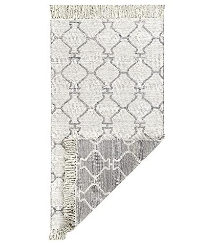 HAMID - Wendbarer Kelim-Teppich mit modernem Design - Zwei Farben - Teppich für Wohnzimmer, Schlafzimmer, Wohnzimmer, Eingang (D1, 150x80cm)