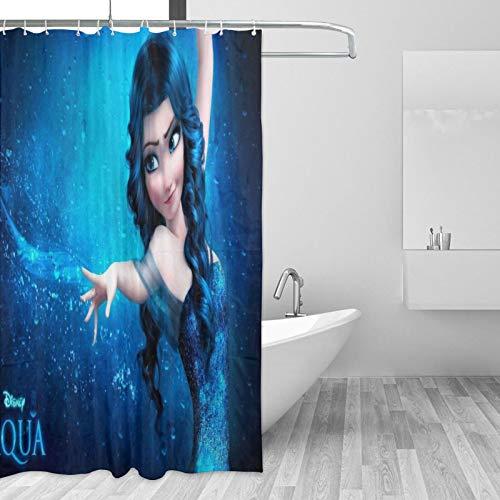 Die Eiskönigin Elsa Duschvorhänge Schimmelwiderstandsfähig Waschbar 180x180cm 3D Digital Landschaft Gedruckt Wasserdicht Badezimmer Badvorhang Polyestergewebe mit 12 Haken