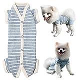 Kickred Camiseta para perros a rayas, de algodón, para perros pequeños, transpirable y suave, con 4 patas, 1 unidad, color azul, para niñas S