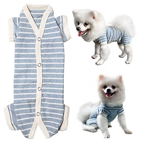 Kickred Pagliaccetto per cani, pigiama per cani, a righe, morbido e traspirante, per cani di taglia piccola, media e grande