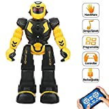 Suliper Remote Control Robot for Kids,Intellectual Gesture Sensor Programmable Robot with Infrared Controller Early Education Robot Toys can Dance Sing Walk Robot Kits for Children (Yellow)