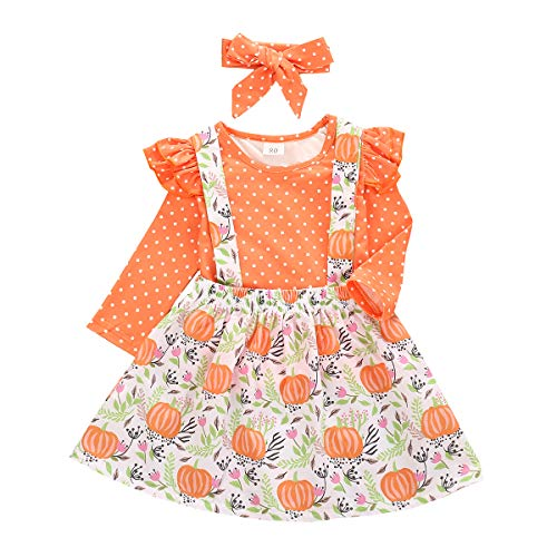 Toddler Baby Girl Halloween Clothes Long Sleeve T-Shirt Tops Pumpkin Plaid Suspender Skirt Headband Overall Outfit (Polka, 18-24 Months)